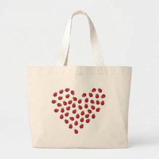Corazón del amor de la mariquita bolsa lienzo