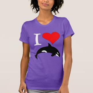 Corazón del amor de la orca de la orca remeras