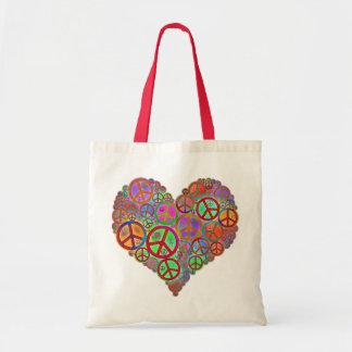 Corazón del amor de la paz del vintage bolsa tela barata