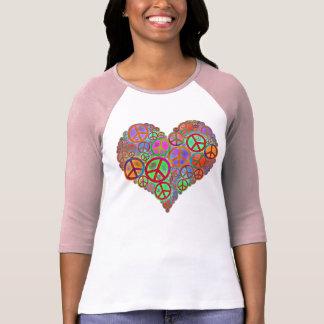 Corazón del amor de la paz del vintage playera