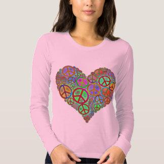 Corazón del amor de la paz del vintage playeras