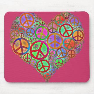 Corazón del amor de la paz del vintage alfombrilla de ratón