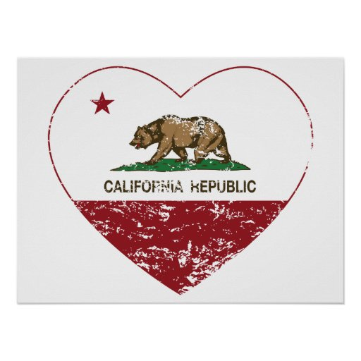 Corazón del amor de la república de California ape Impresiones