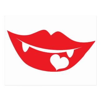 corazón del amor de los labios del vampiro postales