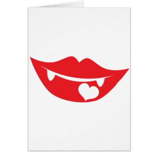 corazón del amor de los labios del vampiro tarjeta de felicitación