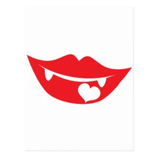 corazón del amor de los labios del vampiro postal