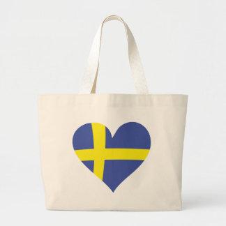 corazón del amor de Suecia - bandera sueca Bolsa Tela Grande