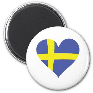 corazón del amor de Suecia - bandera sueca Imán Redondo 5 Cm
