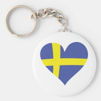 corazón del amor de Suecia - bandera sueca Llavero Personalizado