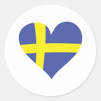 corazón del amor de Suecia - bandera sueca Pegatina Redonda
