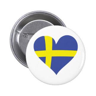 corazón del amor de Suecia - bandera sueca Pin Redondo 5 Cm