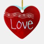 Corazón del amor adorno de cerámica en forma de corazón