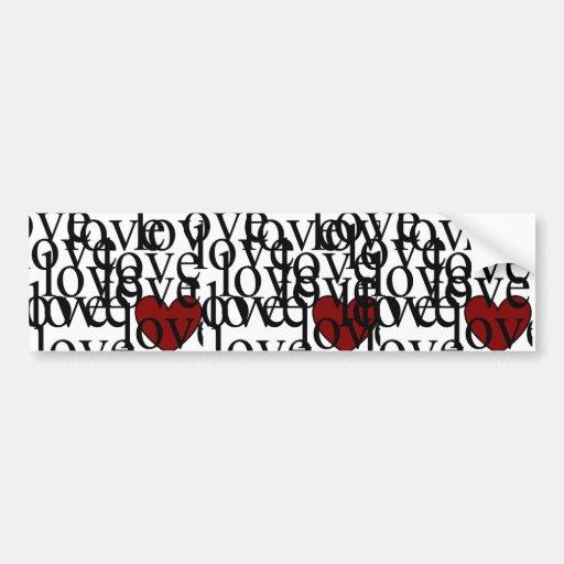 corazón del amor del amor del amor etiqueta de parachoque