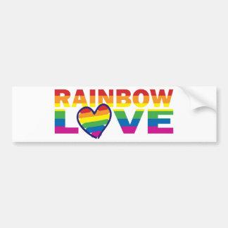 Corazón del amor del arco iris del orgullo gay pegatina para auto