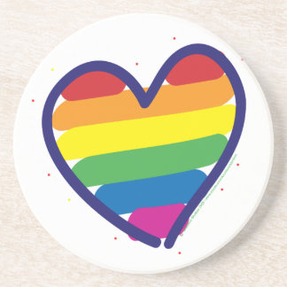 Corazón del amor del arco iris del orgullo gay posavasos de arenisca