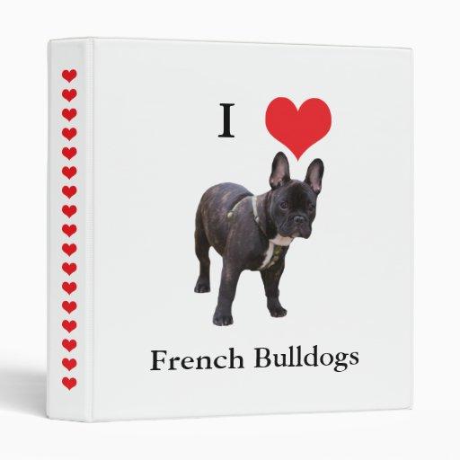 Corazón del amor del dogo francés I, carpeta, carp