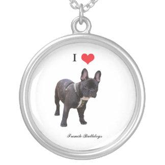 Corazón del amor del dogo francés I, collar, regal Colgante Redondo