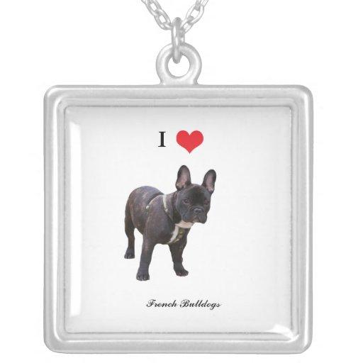 Corazón del amor del dogo francés I, collar, regal Colgante Cuadrado