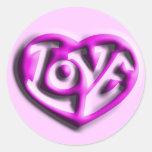 Corazón del amor del Hippie de las rosas fuertes Pegatina Redonda