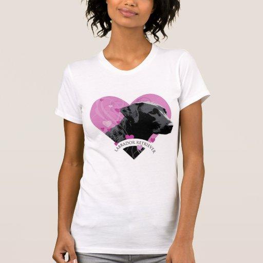 Corazón del amor del labrador retriever t shirt