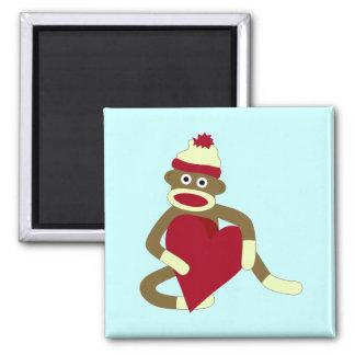 Corazón del amor del mono del calcetín iman de nevera