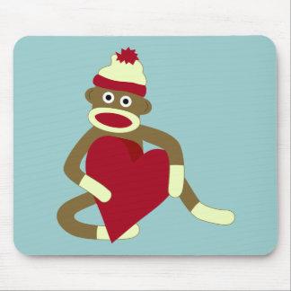 Corazón del amor del mono del calcetín alfombrilla de raton