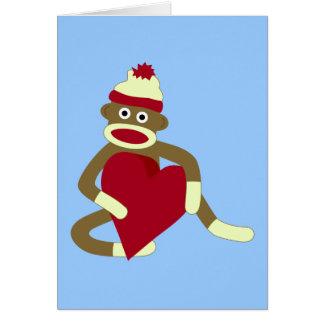 Corazón del amor del mono del calcetín tarjeta de felicitación