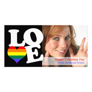 Corazón del amor del orgullo del arco iris tarjeta con foto personalizada