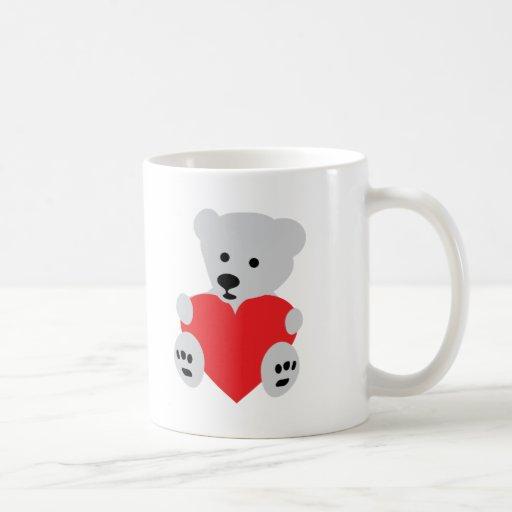 corazón del amor del oso polar del hielo tazas de café