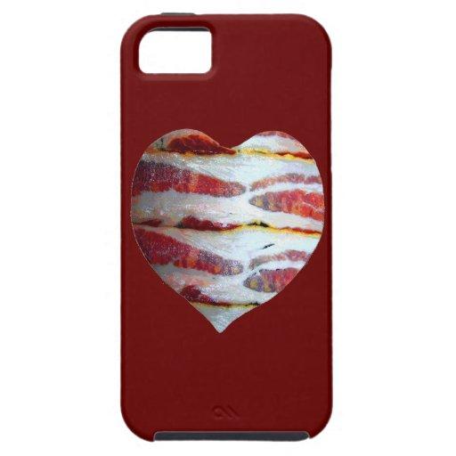Corazón del amor del tocino iPhone 5 cárcasas