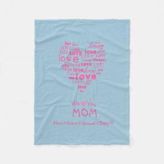 """Corazón del amor """"le amamos"""" personalizado para manta de forro polar"""