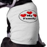 Corazón del amor mi familia camiseta de perro