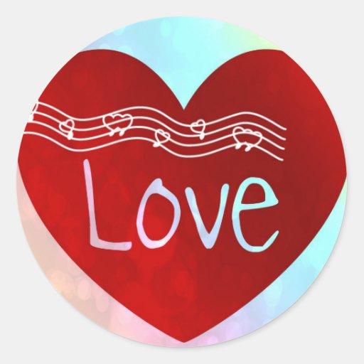 Corazón del amor pegatina redonda