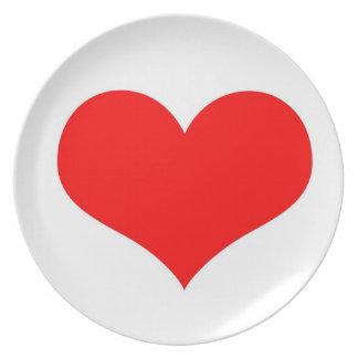 Corazón del amor plato de comida