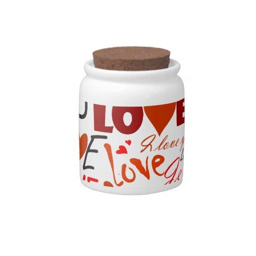 Corazón del amor tarro de cerámica para dulces