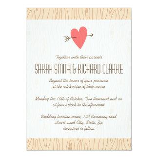 """Corazón del amor y boda del ejemplo de madera de invitación 5.5"""" x 7.5"""""""