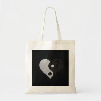 Corazón del amor ying el bolso de tote de yang bolsa tela barata