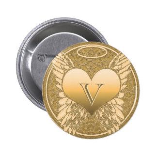 Corazón del ángel del monumento el   de la letra V Pin Redondo De 2 Pulgadas