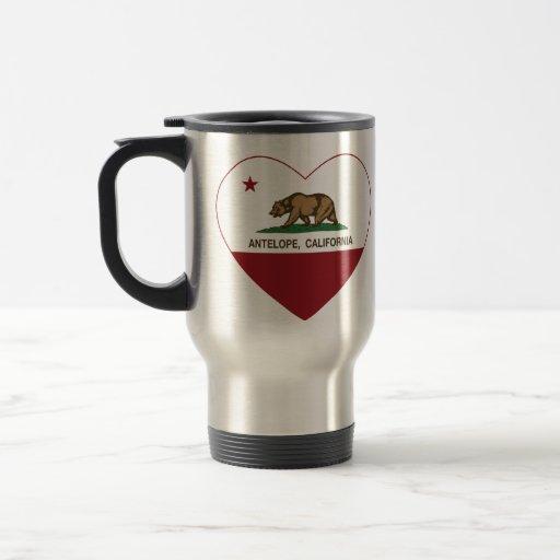 corazón del antílope de la bandera de California Tazas De Café