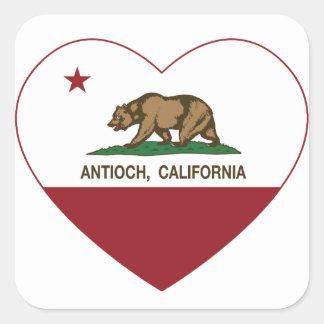 corazón del antioch de la bandera de California Pegatina Cuadrada