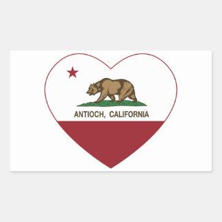 corazón del antioch de la bandera de California Pegatina Rectangular