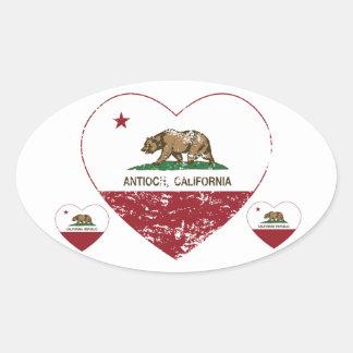 corazón del antioch de la bandera de California Pegatina Ovalada