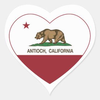 corazón del antioch de la bandera de California Pegatina En Forma De Corazón