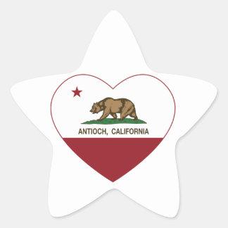 corazón del antioch de la bandera de California Pegatina En Forma De Estrella