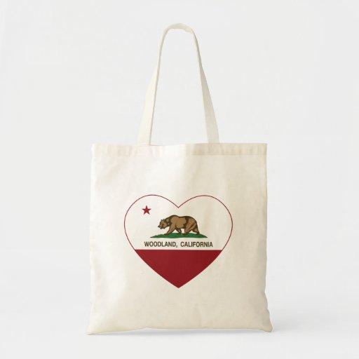 corazón del arbolado de la bandera de California Bolsa Tela Barata