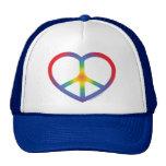 Corazón del arco iris, amor, signo de la paz gorros