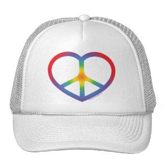 Corazón del arco iris, amor, signo de la paz gorro