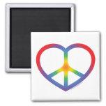 Corazón del arco iris, amor, signo de la paz imán para frigorifico