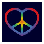 Corazón del arco iris, amor, signo de la paz poster