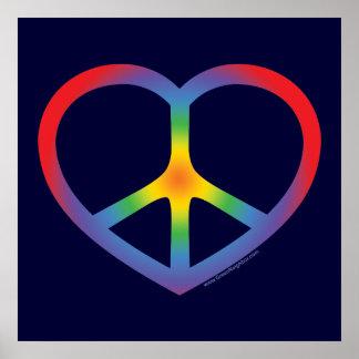 Corazón del arco iris amor signo de la paz poster
